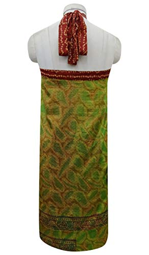 Soie Summer Check amp; rversible Indianbeautifulart Wrap Pure Vintage Beach Dress Green Saree Rouge Imprimer Femmes Les Brown gEqEXP