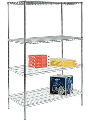 Steel Reinforced Shelving Unit - Lakeside R246072CS-4 Round Post Stationary Wire Shelving, 4 Shelf, 24