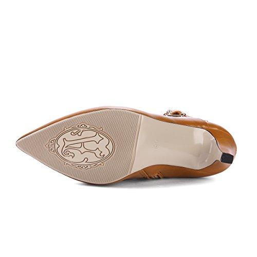 YE Damen Ankle Boots Stiletto High Heels Spitze Stiefeletten mit Reißverschluss und Schnallen 8cm Absatz Elegant Schuhe Braun