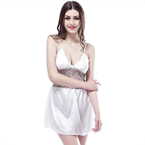 tirantes de seda Sra con un cojín del pecho atractivo hueco halter de encaje pijamas camisón de la primavera y el verano White