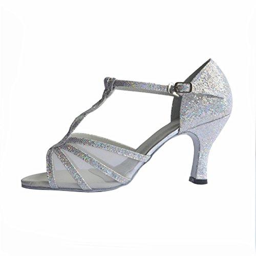 Plantilla Flipmycover sandalias examen de latín Salsa Tango salón zapatos de baile para las mujeres con 6,99 cm del talón plata
