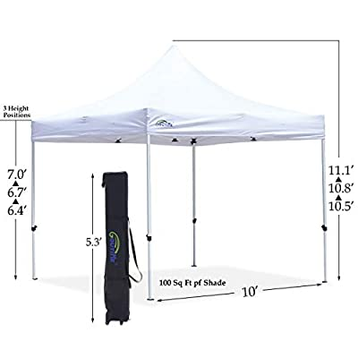 Goutime 10x10 Commercial Grade Pop Up Canopy Tents for Parties Trades Shows, Waterproof Ez Up Canopy with Wheeled Bag, White : Garden & Outdoor