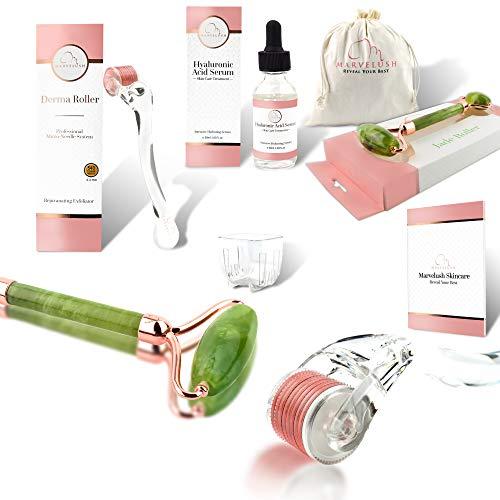Derma Roller, Jade Roller, Hyaluronic Acid Serum | 6 in 1 Facial Kit | 540 Titanium Microneedles 0.3mm | Ebook | Disinfectant Cup | Travel Bag | ✨Marvelush Skincare ✨