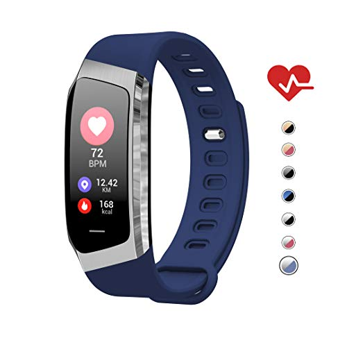 AOE Fitness Tracker, Activity Tracker Health Exercise Band with Heart Rate and Blood Pressure, Waterproof Smart Watch with Step, Calorie, Sleep Monitor, SMS Call Pedometer, Best for Kids Women Men -