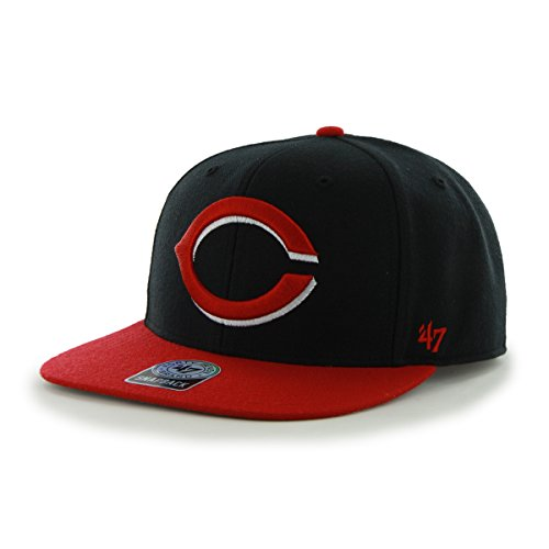 (MLB Cincinnati Reds Sure Shot Two Tone Captain Wool Adjustable Hat, One Size, Black)