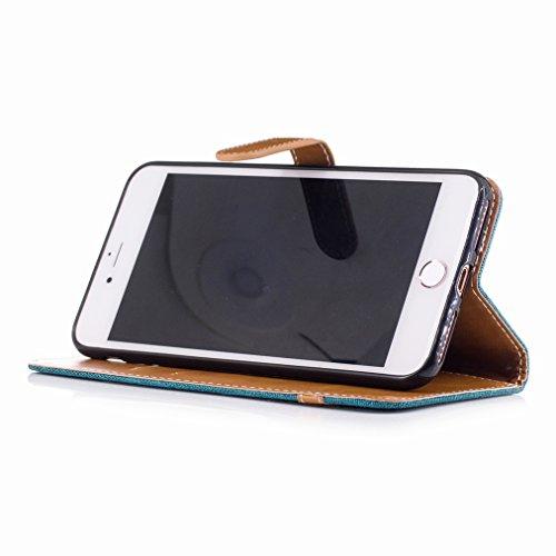 Yiizy Apple IPhone 7 Plus Cover Custodia, Modello Del Cowboy Design Silicone Custodia Flip Cover Portafoglio PU Pelle Cuoio Copertura Case Slot Schede Cavalletto Stile Libro Bumper Protettivo Borsa (V