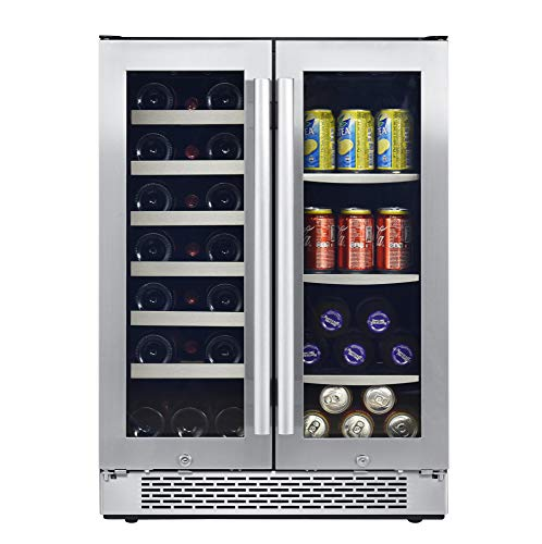 Avallon AWBC241GGFD 24 Inch Wide 21 Bottle and 60 Can Capacity Built-In Wine and Beverage Cooler with French Doors by Avallon (Image #1)