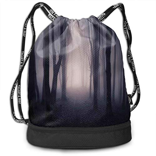 Drawstring Backpacks Bags,Path Through Dark Deep In Forest With Fog Halloween Creepy Twisted Branches Picture,Adjustable