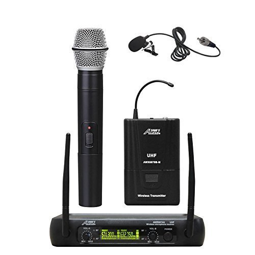 Audio 2000s AWM6074UL Dual Channel UHF Wireless Microphone System with Handheld and Lavalier Lapel