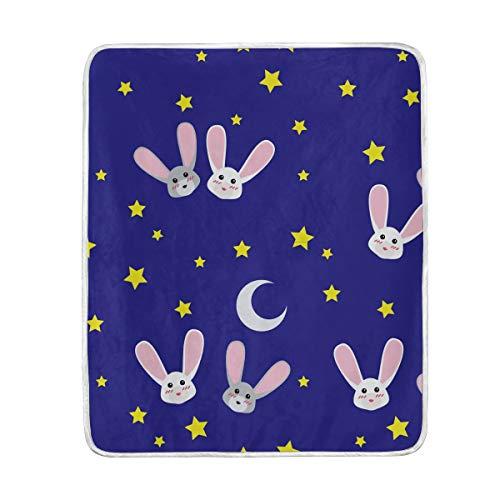 (Dark Blue Rabblits Stars Soft Warm Throw Blankets Lightweight Velvet Short Plush Microfiber Blanket for Bed Couch Chair Sofa Travelling Camping 50'' x 60'')