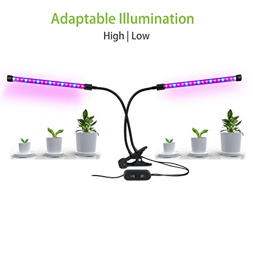 Dual Head LED Plant Grow Light 18W Dimmable 2 Levels Adjustable 360 Degree Flexible Gooseneck for Indoor Plants Hydroponics Greenhouse Garden Home Office[UL Listed, 2018 Upgraded] by Koopower (Image #3)