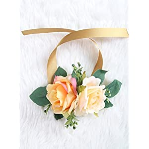 Wrist Corsage Rose Flower Pretty Wedding Bridal Bridesmaids (Old rose) 52