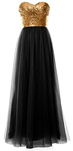 Strapless Dress Long Formal Gold Gown Sequin Women MACloth Black Bridesmaid Wedding Party gqatI
