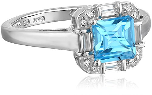 re Blue Topaz with Created White Sapphires Ring, Size7 ()