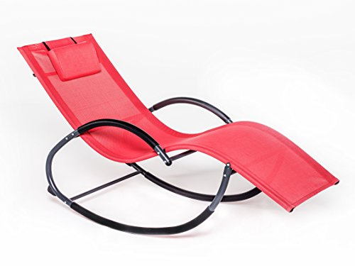LUCKUP Outdoor Patio Iron Zero Gravity Chair Orbital Rocking Lounge Chair with Pillow Wave Rocker,Patio Chaise Lounge Rocking Lounger, Outdoor Lounge Chair (G Stlye, RED)