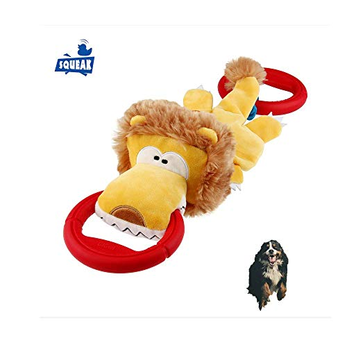 Gigwi Iron Grip Series Plush Lion Dog Toy Tug, Squeak Tug Dog Toy with Two-Sided Handle Ring Diameter 4.7 Inches, Entertainment Squeaking Toys Extended Length 17 Inches for Medium and ()