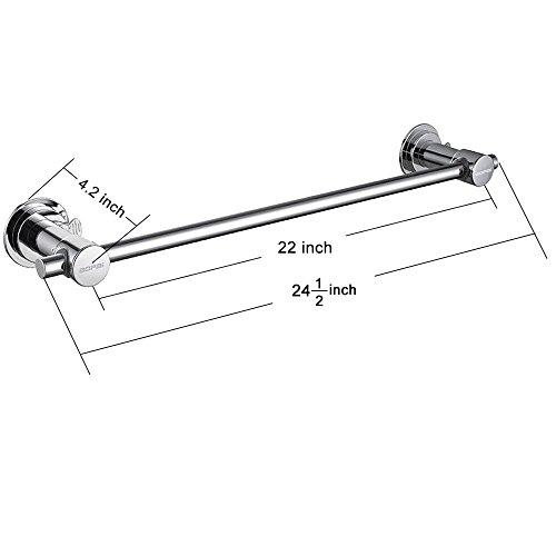 BOPai 24 inch Vacuum Suction Cup Towel Bar,Removeable Shower Mat Rod Shower Door Adhesive Towel Bar Suction Towel Rack,Premium Chrome by BOPai (Image #3)