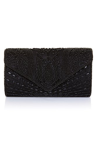 Beatrice Vintage Inspired Hand Embellished Clutch Bag in Black Black Glass Beaded Purse