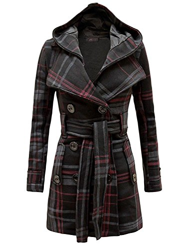 Belted Check (Neeed Women's Military Button Hooded Fleece Belted Jacket (6, Black Check))
