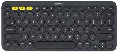 Logitech K380 Multi-Device Bluetooth Keyboard – with FLOW Cross-Computer Control and Easy-Switch up to 3 Devices – Dark Grey (Bluetooth Computer Keyboard)