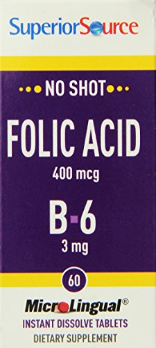 Superior Source Folic Acid/B6 Nutritional Supplements, 400 mcg/3 mg, 60 Count,