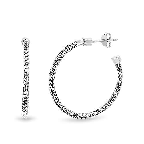 WILLOWBIRD Byzantine Hoop Earrings for Women In Oxidized 925 Sterling Silver