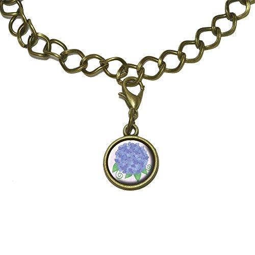 Hydrangea Flower Garden Purple Charm with Chain Bracelet