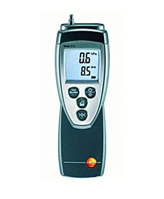 Testo 512-2 Digital Manometer/Anemometer Kit, 0 to 200 hPa Pressure, 10 to 100 m/s Velocity, 0 to 60° C Temperature