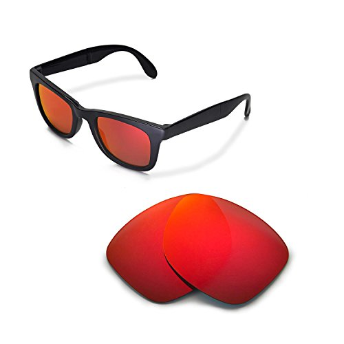 Walleva Replacement Lenses for Ray-Ban Wayfarer RB2140 50mm Sunglasses - Multiple Options Available (Fire Red - - Rb2140 Red