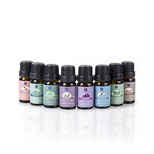 Top 8 Essential Oils Set,Pure Therapeutic Grade Aromatherapy Oils,Lavender,Eucalyptus,Lemongrass,Frankincense,Orange,Rosemary,Peppermint,Tea Tree Essential Oils by Lagunamoon (Image #1)