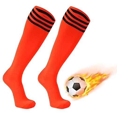FOOTPLUS Hockey Socks, Mens Womens Long Tube Softball Compression Sport Socks, Boys Girls School Uniform Dress Socks, 2 Pairs Orange+Black Stripe, Large