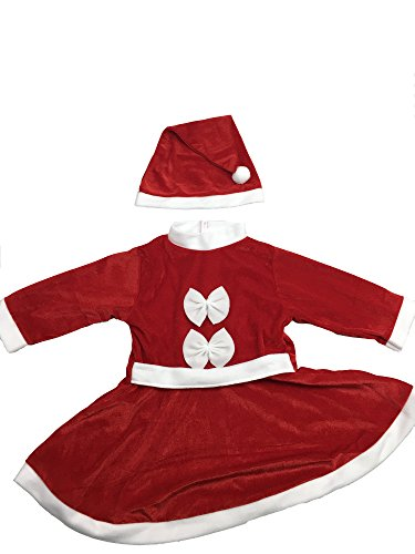 [MARIAN Plush Santa Christmas Costumes Suit for Girls (L)] (Unique Santa Costumes)