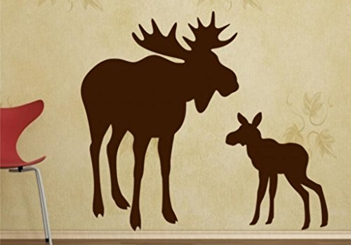 Wide Moose (Moose Wall Decals - Mom With Baby Moose Decal 29