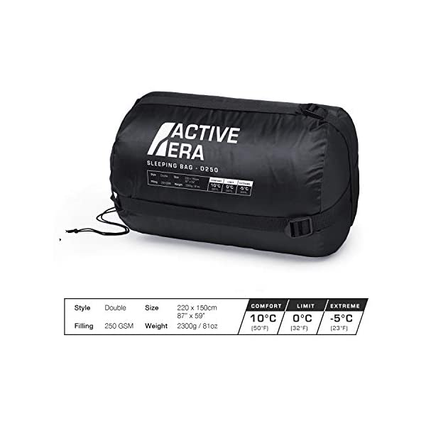 Active Era Double Sleeping Bag - Water Resistant and Lightweight Queen Size with 2 Pillows & Compression Bag, Converts into 2 Singles - 3 Seasons 32F, Perfect for Camping, Hiking, Outdoors & Travel 10