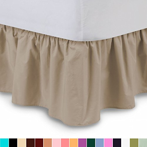 Shop Bedding Ruffled Bed Skirt (Twin XL, Camel) 14 Inch Drop Dust Ruffle with Platform, Wrinkle and Fade Resistant - by Harmony Lane (Available in all bed sizes and 16 colors)