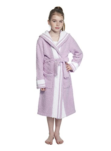 Barefoot Dreams Cozychic Youth Striped Robe Lilac/White Stripe, (Large 12-14)