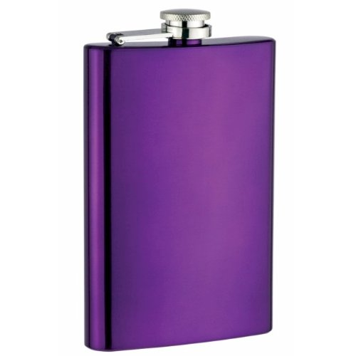 8oz Stainless Steel Hip Flask, Purple