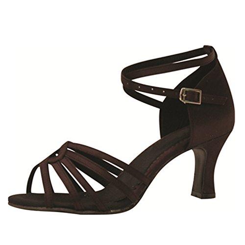 LEIT YFF Gift Women Dance Shoes Ballroom Latin Dance Tango Dancing Shoes 7CM,Brown,39