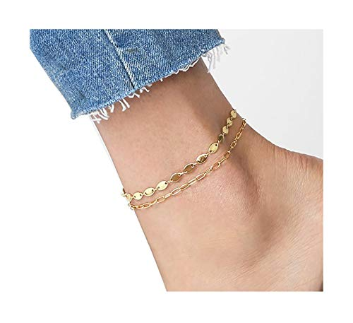Layered Anklet,14K Gold Plated Beach Foot Chain Handmade Dainty Oval Coin Link Chain Boho Anklet Bracelet Jewelry Gifts for Women for Girls
