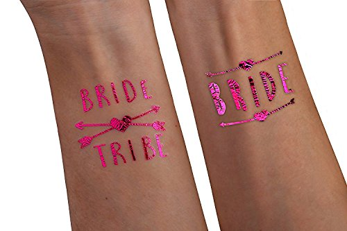(12 pack) Pink - Bride Tribe Temporary Tattoos For A Bachelorette (Things To Buy For A Bachelorette Party)