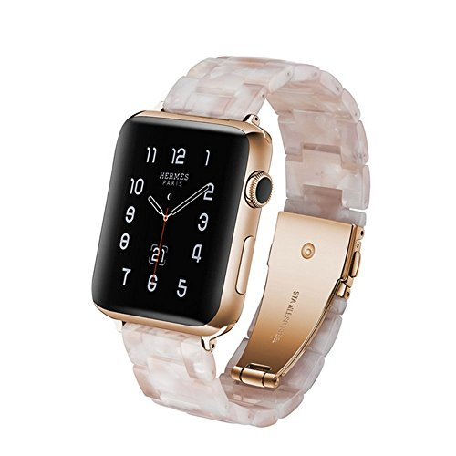 Band Link Plastic (Herbstze for Apple Watch Band 42mm/44mm, Fashion Resin iWatch Band Bracelet with Metal Stainless Steel Buckle for Apple Watch Series 4 Series 3 Series 2 Series 1 (White))
