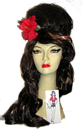 Amy Winehouse Fancy Dress Kit, Wig Flower & Tattoo (peluca)