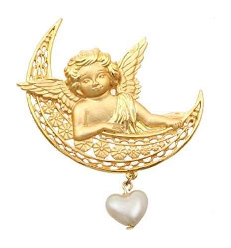 'Moon Angel' Matte Finish Vintage Retro Cherub Angel Pin Brooch With Dangling Heart 2.5