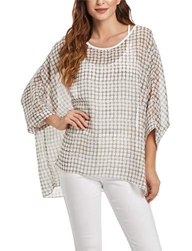 (Vanbuy Womens Summer Printed Batwing Sleeve Top Chiffon Poncho Flowy Loose Sheer Blouse Shirt Tunic Z336-43-4351)