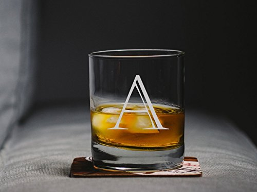 Engraved Whiskey Glass, Personalized Scotch Glass, Customized Old Fashioned Glasses, Etched Bourbon Glass, Initial - Glass Customized