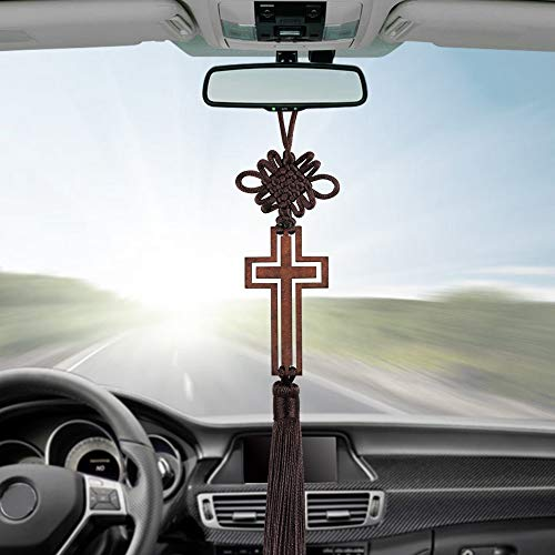 (FelixStore Hollow Cross Tassel Car Rearview Mirror Hanging Ornaments Auto Interior Christian Cross Decoration Pendant Car Accessories)