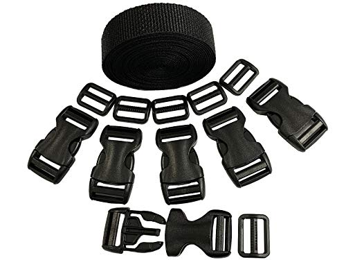 18 Set Plastic 1 Inch Flat Side Release YKK Buckles, Tri-Glide Slides with 1 Roll 5 Yards Nylon Webbing Straps, Great for Pet Collars, Backpack Repairs, Soft Vinyl Pouches. Made in The USA