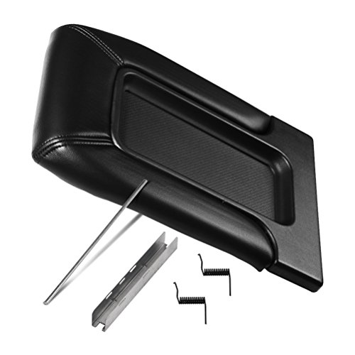 Center Console Lid Replacement Kit Black - Replaces 924-811, 19127364, 19127365, 19127366, 924-812 - Fits Chevy Silverado, Avalanche, Tahoe, Suburban, GMC Sierra, Yukon - Interior Armrest Hinge Latch ()