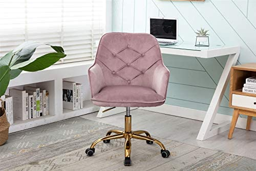 Velvet Shell Chair 360 Swivel Height Adjustable Modern Racing Arm Chair,Tufted Vanity Chair