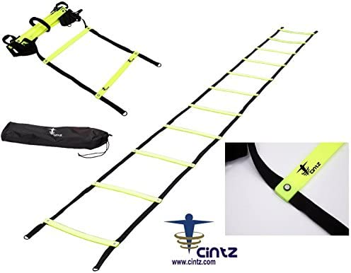 Cintz Agility Ladder- Fixed Rungs Speed Ladder – Mulitple Lengths Available- Comes with Ground Anchors and Carry Strap